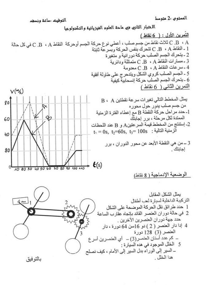 الاختبار الثاني في مادة العلوم الفيزيائية والتكنولوجيا السنة الثانية متوسط Phys2amexam28